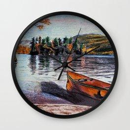 'Dome Island' Lake George Original Art Drawing - Canoe - Lake Wall Art Decor Wall Clock