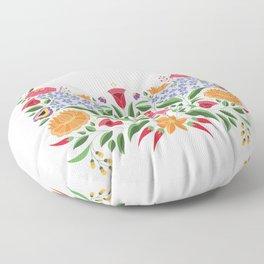 Hungarian folk pattern – Kalocsa embroidery flowers Floor Pillow