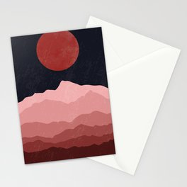 Full moon phase abstract contemporary landscape boho poster gradient colors of mountains Stationery Cards