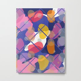 Retro Abstract Multicolored 80s Blue Memphis Pattern Metal Print
