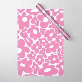 60s 70s Hippy Flowers Pink Wrapping Paper