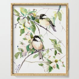 Chickadees and Dogwood Flowers Serving Tray
