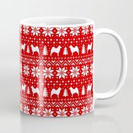 Norwegian Elkhound Silhouettes Christmas Sweater Pattern Coffee Mug