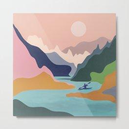 River Canyon Kayaking Metal Print