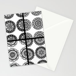 Black and White Patch-Work Mandala Textile Stationery Cards