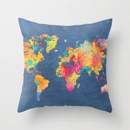 world map blue 2061 #map #worldmap Throw Pillow