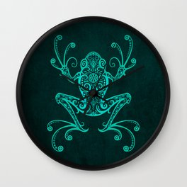 Intricate Teal Blue Tree Frog Wall Clock