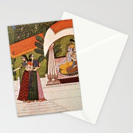 Indian Masterpiece: Krishna and Radha in a pavilion portrait painting Stationery Cards