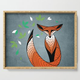 Dame Renard - Grey background with leaves Serving Tray