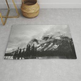 Smokey Mountains Maligne Lake Landscape Photography Black and White Rug