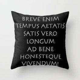 Breve enim tempus aetatis satis vero longum Throw Pillow