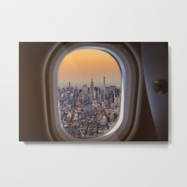 New York skyline from airplane window Metal Print