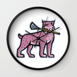 Bobcat or Lynx Lacrosse Mascot Wall Clock
