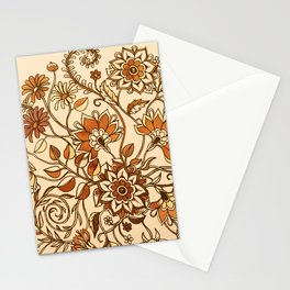Jacobean Inspired Floral Doodle in Neutral Woodland Colors Stationery Cards