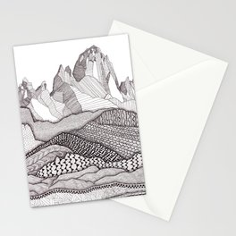 Patterns on Patagonia / Black and White Mountain Drawing / Abstract Mountain Landscape Stationery Cards