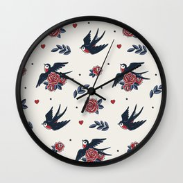 Old School Tattoo Pattern | Flying Swallows And Roses Wall Clock