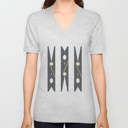 Clothespin Sign, Dark Grey Unisex V-Neck