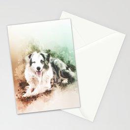 Australian Shepherd Digital Watercolor Painting Stationery Cards