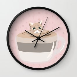 Coffee tiramisu cat latte art Wall Clock