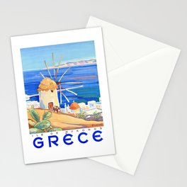 1949 Greece Island of Mykonos Travel Poster Stationery Cards