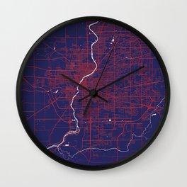 Rockford, IL, USA, Blue, White, City, Map Wall Clock