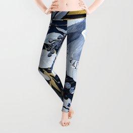 Navy Blue & Gold Watercolor Floral Leggings