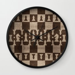 Chess Pieces Pattern - wooden texture Wall Clock