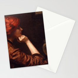 Thinking About the Kiss, Redhead with Goldfish in an Idle Moment female portrait by Alexander White Stationery Cards