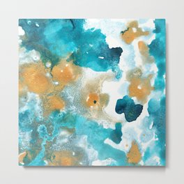 Aqua Teal Gold Abstract Painting #2 #ink #decor #art #society6 Metal Print