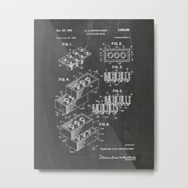Legos Patent Drawing Metal Print