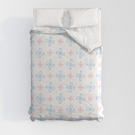 geometric flower 18 blue and pink Comforters