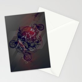 Until One of Us Starts Raving - Skull and Motorbikes Stationery Cards