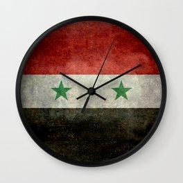 Syrian national flag, vintage Wall Clock