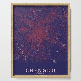 Chengdu, Sichuan, China, Blue, White, City, Map Serving Tray