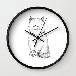 Kitty With Fish Cracker Wall Clock