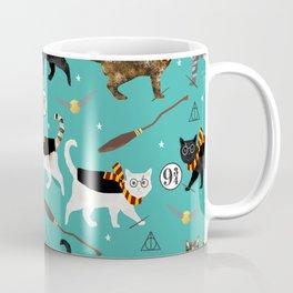 Cat wizard cats magic school pattern Kaffeebecher