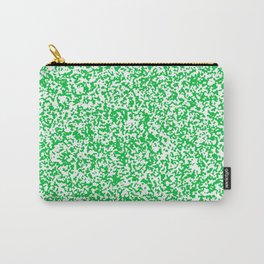 Tiny Spots - White and Dark Pastel Green Carry-All Pouch