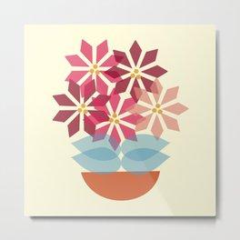 Poinsettia Pot Metal Print