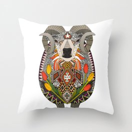 Aries ram white Throw Pillow