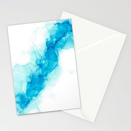 Wispy Turquoise: Original Abstract Alcohol Ink Painting Stationery Cards