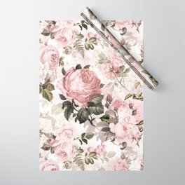 Vintage & Shabby Chic - Sepia Pink Roses  Wrapping Paper