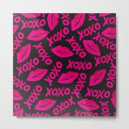 XOXO Quote Black Neon Pink Lips Lipstick Pattern Metal Print