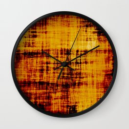 Orange and Brown Textured Abstract Wall Clock