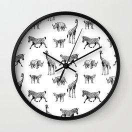 Giraffe zebra rhino leopard animal pattern wild forest pattern Wall Clock