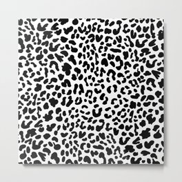 Black & White Leopard Skin Metal Print