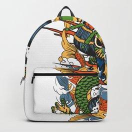 Geisha Skull Koi Fish Dragon Backpack