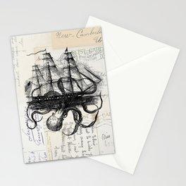 Octopus Kraken Attacking Ship on Old Postcards Stationery Cards