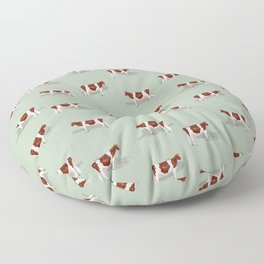 Red & White Holsteins // Sage Floor Pillow