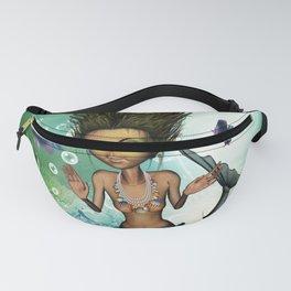 Sweet little mermaid in the deep ocean Fanny Pack