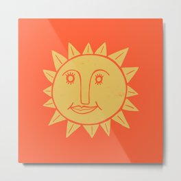 Cheerful Happy Sunshine Numero 2 Red Metal Print